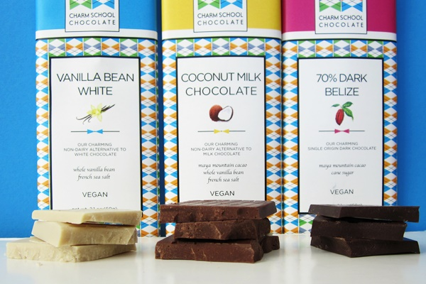 Charm School Chocolate Bars: Vegan Vanilla Bean White, Coconut Milk Chocolate, and 70% Belize Dark - all #dairyfree and soyfree
