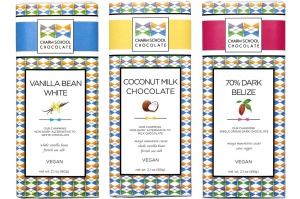 Charm School Chocolate Bars: Vegan Vanilla Bean White, Coconut Milk Chocolate, and 70% Belize Dark - all #dairyfree and soyfree