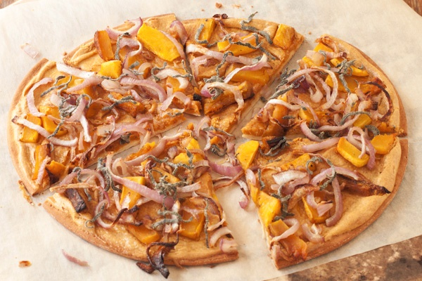 Nutritional Yeast Recipes - Butternut squash and sage pizza with caramelized onions and smoky white pizza sauce