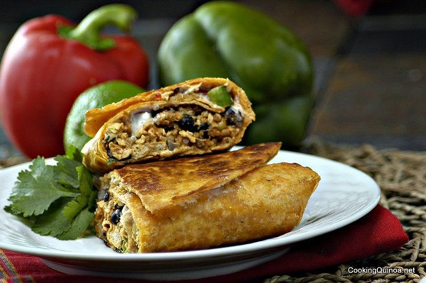 Nutritional Yeast Recipes - Crispy Southwestern Quinoa and Chick'n Burritos