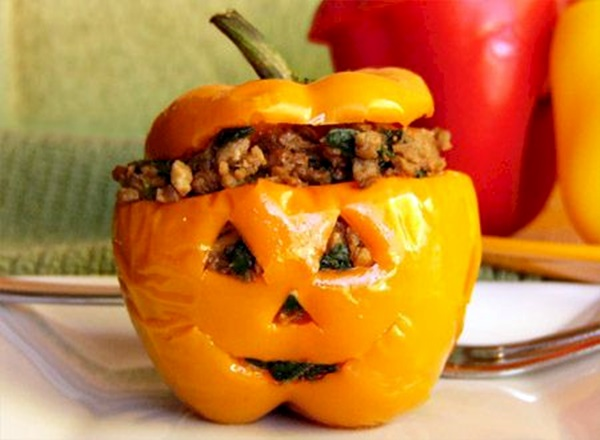 Nutritional Yeast Recipes - Halloweegan Peppers: Vegan Quinoa Filling in Carved Squash or Bell Peppers!