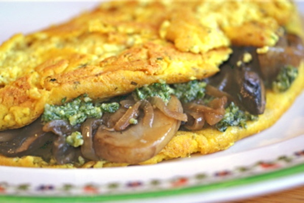 Nutritional Yeast Recipes - Tofu Omelet with Pesto, Caramelized Onions and Mushrooms