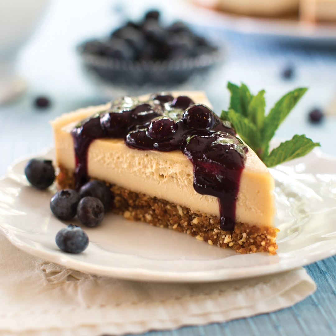 Raw Blueberry Cheesecake Recipe (dairy-free, gluten-free, and vegan) from Choosing Raw by Gena Hamshaw