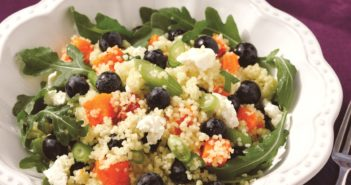 Blueberry, Arugula and Butternut Squash Quinoa Recipe - dairy-free + vegan, gluten-free, healthy and great for lunch boxes, a light vegetarian meal or holiday side.