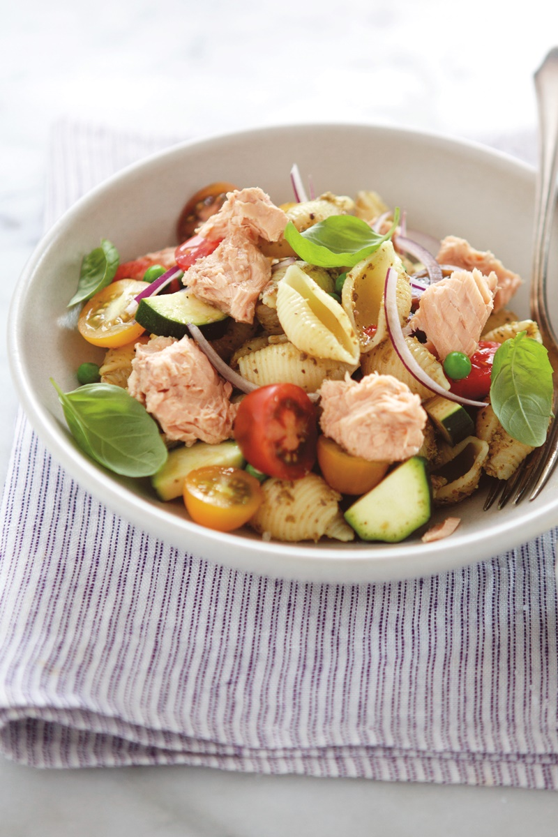 Salmon Pesto Pasta Salad Recipe (dairy-free, gluten-free optional)
