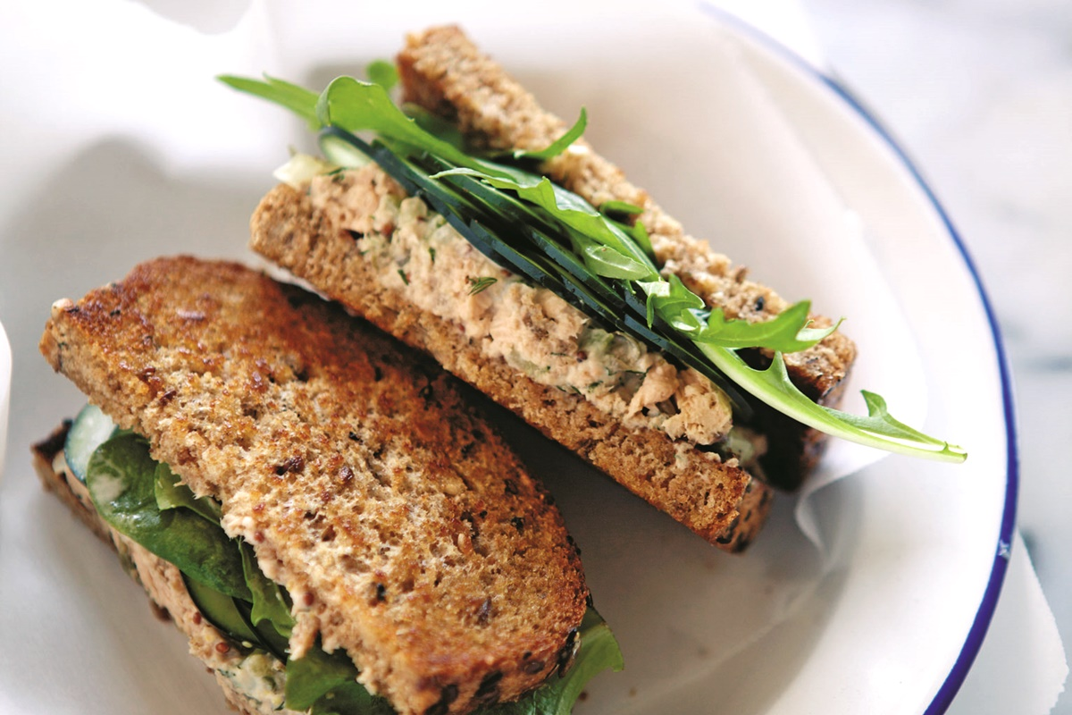 Light Salmon Salad Sandwiches Recipe with Dill - dairy-free, nut-free and optionally gluten-free for lunch