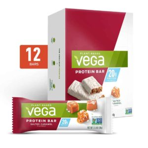 Vega Protein Bars in Snack, 20g, and Sport Varieties. Reviews, ingredients, availability, etc. All vegan, gluten-free, and dairy-free. Pictured: 20g Salted Caramel