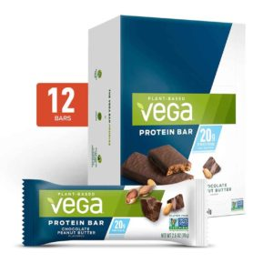 Vega Protein Bars in Snack, 20g, and Sport Varieties. Reviews, ingredients, availability, etc. All vegan, gluten-free, and dairy-free. Pictured: 20g Chocolate Peanut Butter