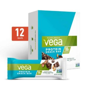Vega Protein Bars in Snack, 20g, and Sport Varieties. Reviews, ingredients, availability, etc. All vegan, gluten-free, and dairy-free. Pictured: Snack Chocolate Peanut Butter
