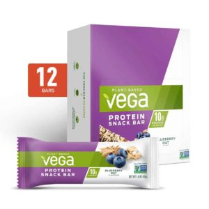 Vega Protein Bars in Snack, 20g, and Sport Varieties. Reviews, ingredients, availability, etc. All vegan, gluten-free, and dairy-free. Pictured: Snack Blueberry Oat
