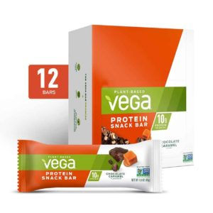 Vega Protein Bars in Snack, 20g, and Sport Varieties. Reviews, ingredients, availability, etc. All vegan, gluten-free, and dairy-free. Pictured: Snack Chocolate Caramel