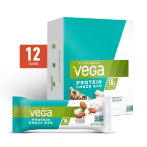 Vega Protein Bars in Snack, 20g, and Sport Varieties. Reviews, ingredients, availability, etc. All vegan, gluten-free, and dairy-free. Pictured: Snack Coconut Almond