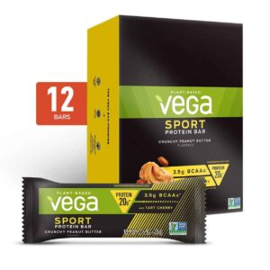 Vega Protein Bars in Snack, 20g, and Sport Varieties. Reviews, ingredients, availability, etc. All vegan, gluten-free, and dairy-free. Pictured: Sport Peanut Butter