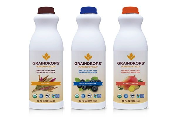 "Graindrops Organic Dairy-Free Probiotic Beverage - Drinkable yogurt that is vegan / plant-based, triple cultured, made with biodynamic rice and ""powered by koji"""