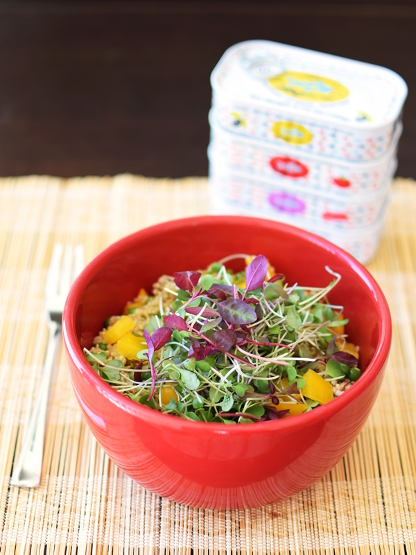 Fresh Greens and Grains Bowl Recipe with Sardines, Microgreens and Quinoa (dairy-free, gluten-free)