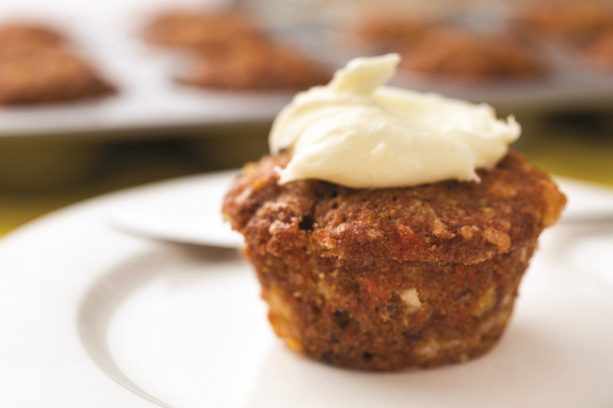 Sweet Morning Glory Muffins with Dairy-Free Cream Cheese Frosting (Recipe)