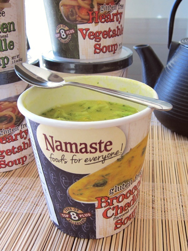 Namaste Foods Soup Cups (Broccoli Cheddar pictured) - gluten-free, dairy-free, vegan and made in a top allergen-free facility