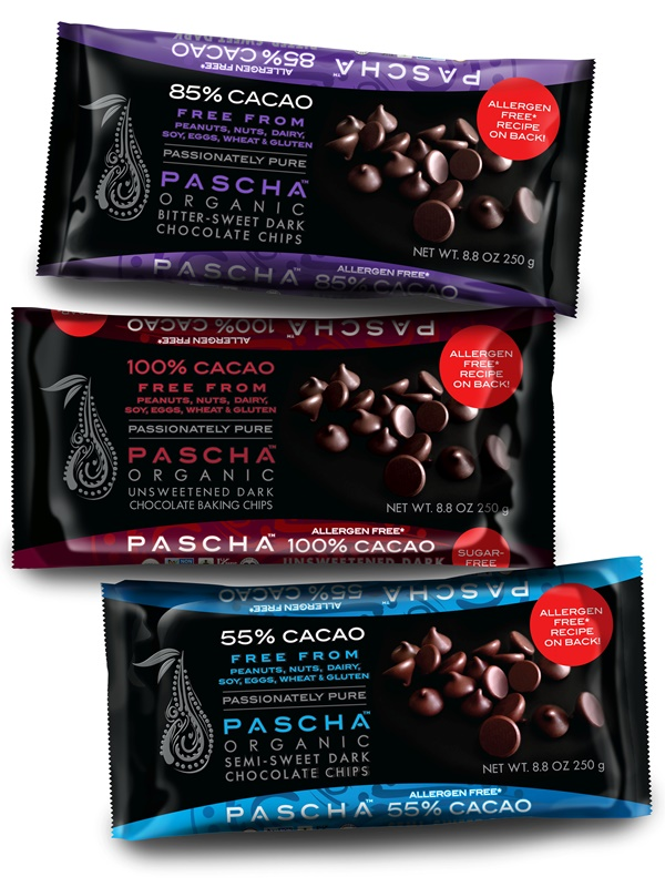 Chocolate Chips from a Bean to Bar Manufacturer (Pascha Chocolate) - Semi-Sweet, Bitter-Sweet, and Unsweetened (Organic, Allergen-Free)