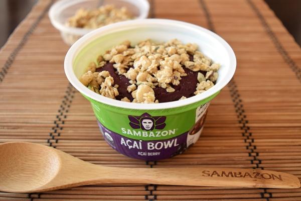 Sambazon Organic Acai Bowls - #dairyfree + vegan acai sorbet with Nature's Path granola