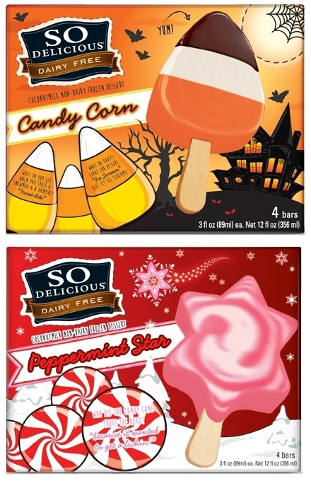 So Delicious Dairy Free Seasonal Frozen Desserts: Candy Corn Bars and Peppermint Stars Bars! Amazing vegan, gluten-free, and top allergen-free ice cream bars.