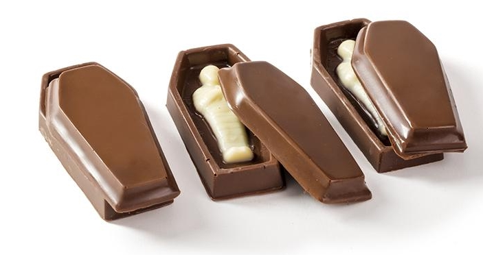 The Cutest + Tastiest Dairy-Free and Vegan Halloween Treats (Pictured - Premium Chocolatiers Chocolate Coffins )