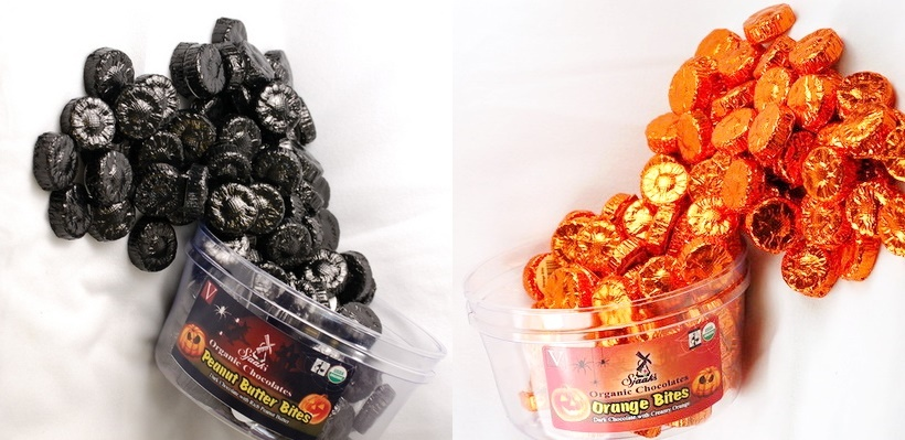 The Cutest + Tastiest Dairy-Free and Vegan Halloween Treats (Pictured - Sjaaks Peanut Butter and Orange Chocolate Bites)