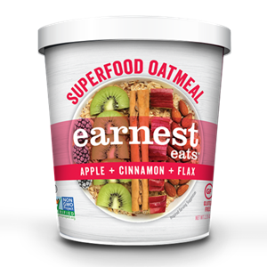Earnest Eats Superfood Oatmeal Reviews and Info - Vegan and Gluten-Free - comes in single-serve cups and multi-serve bags. Pictured: Apple Cinnamon Flax