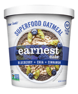 Earnest Eats Superfood Oatmeal Reviews and Info - Vegan and Gluten-Free - comes in single-serve cups and multi-serve bags. Pictured: Blueberry Chia