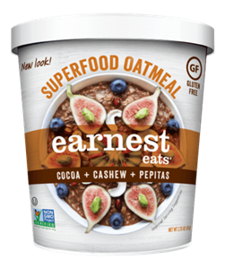 Earnest Eats Superfood Oatmeal Reviews and Info - Vegan and Gluten-Free - comes in single-serve cups and multi-serve bags. Pictured: Cocoa Cashew Pepita