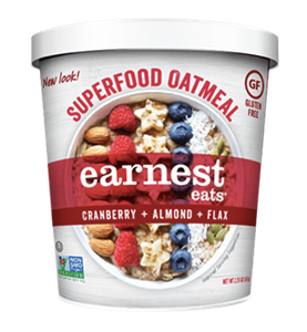 Earnest Eats Superfood Oatmeal Reviews and Info - Vegan and Gluten-Free - comes in single-serve cups and multi-serve bags. Pictured: Cranberry Almond Flax