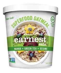 Earnest Eats Superfood Oatmeal Reviews and Info - Vegan and Gluten-Free - comes in single-serve cups and multi-serve bags. Pictured: Green Tea