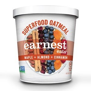 Earnest Eats Superfood Oatmeal Reviews and Info - Vegan and Gluten-Free - comes in single-serve cups and multi-serve bags. Pictured: Maple Cinnamon