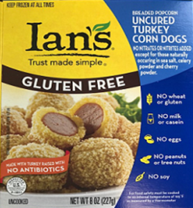Ian's Popcorn Corn Dogs Reviews and Info - Gluten-free, dairy-free, egg-free, nut-free, soy-free and made with uncured turkey (no added antibiotics)