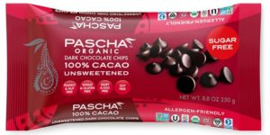 Pascha Organic Chocolate Chips Reviews and Info. All vegan, dairy-free, soy-free, gluten-free, and nut-free! Pictured: 100% Cacao Unsweetened