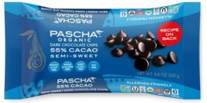 Pascha Organic Chocolate Chips Reviews and Info. All vegan, dairy-free, soy-free, gluten-free, and nut-free! Pictured: creamy 55% cacao semi-sweet
