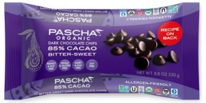 Pascha Organic Chocolate Chips Reviews and Info. All vegan, dairy-free, soy-free, gluten-free, and nut-free! Pictured: Dark 85% Cacao Bitter-Sweet