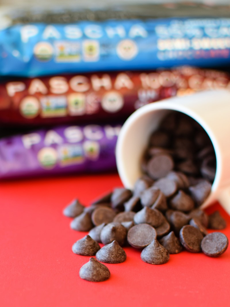 Pascha Organic Chocolate Chips Reviews and Info. All vegan, dairy-free, soy-free, gluten-free, and nut-free! Pictured: Three Varieties