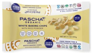 Pascha Organic Chocolate Chips Reviews and Info. All vegan, dairy-free, soy-free, gluten-free, and nut-free! Pictured: White Chocolate Baking Chips