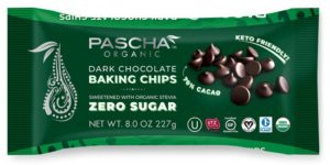 Pascha Organic Chocolate Chips Reviews and Info. All vegan, dairy-free, soy-free, gluten-free, and nut-free! Pictured: Sugar-Free / Zero Sugar Chocolate Chips