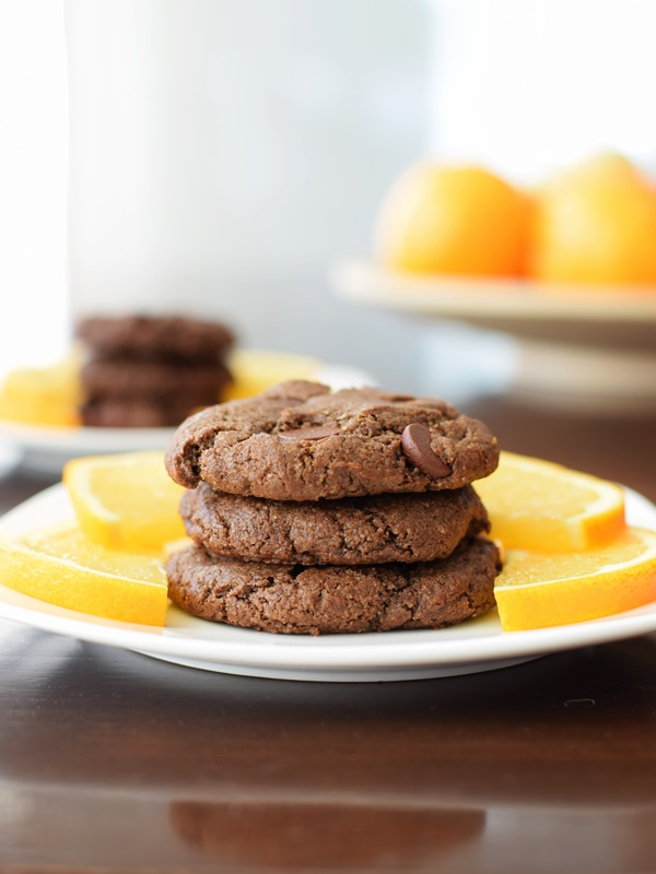 Double Chocolate Orange Cookies Recipe with Fair Trade, Organic, Dairy-Free Chocolate (vegan, gluten-free)