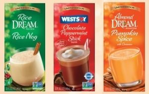 Dream Holiday Beverages: Dairy-Free Limited Edition Rice Nog, Almond Pumpkin Spice, and Chocolate Peppermint Stick Soymilk