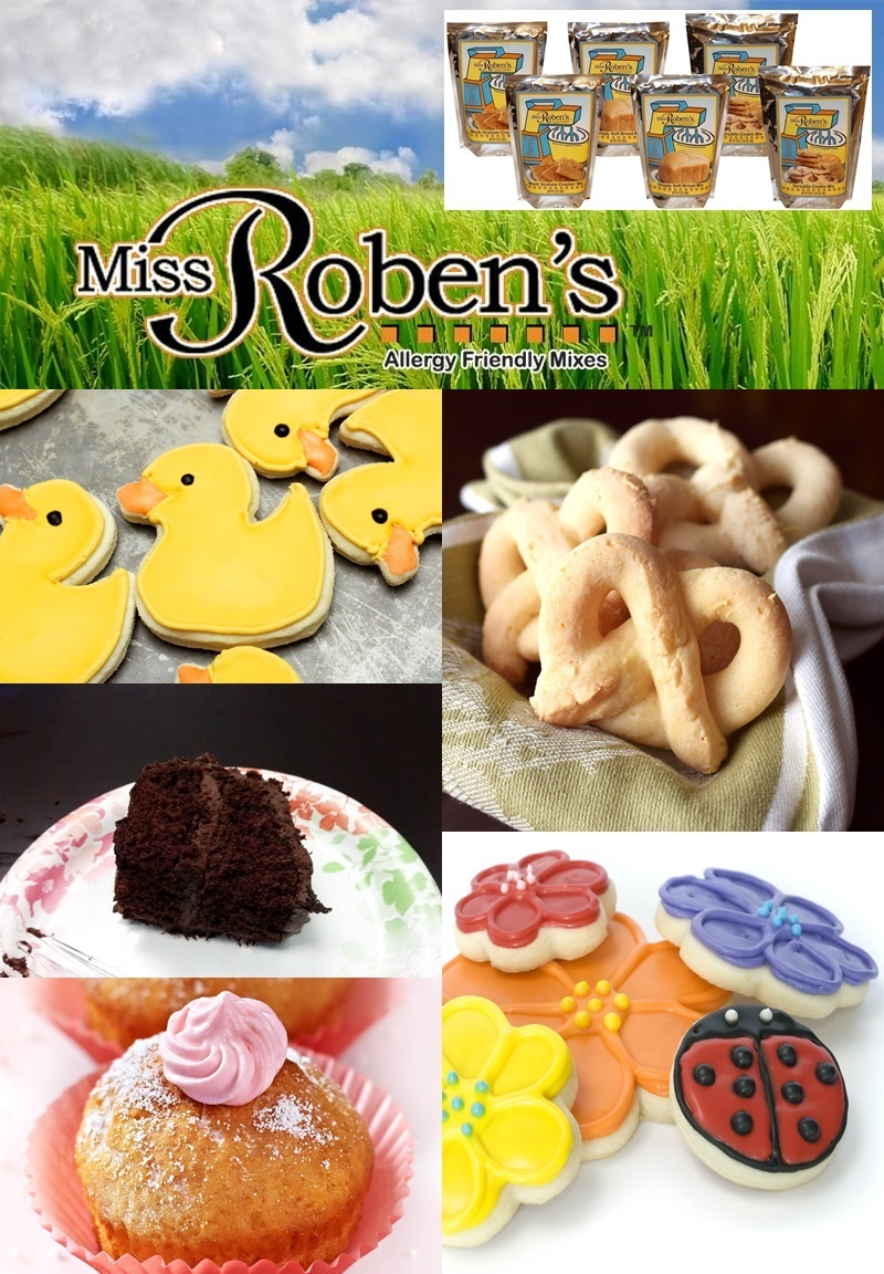 Miss Roben's Allergy Friendly Baking Mixes - cakes, cookies, pretzels, cheezy crackers and more - all made gluten-free and top allergen-free