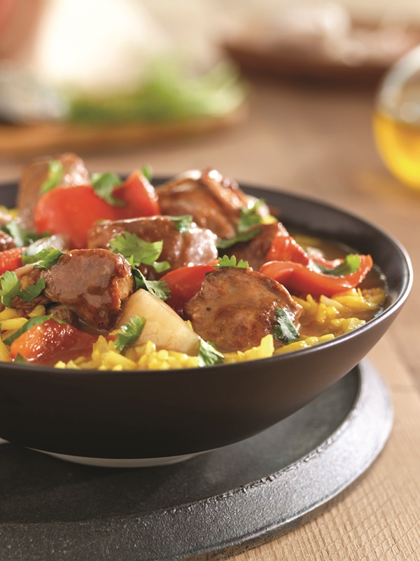 Spanish Pork Stew with Fresh Fennel, Bell Pepper and Onion served over Saffron Rice - dairy-free, gluten-free recipe