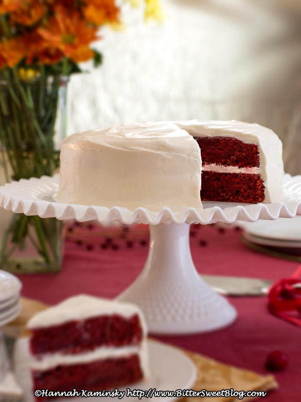 Vegan Cranberry Red Velvet Cake with Dairy-Free Cream Cheese Frosting