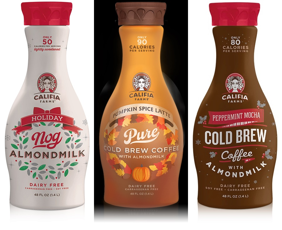 Dairy-Free Holiday Beverages: A Big Round-Up of Vegan Nog, Pumpkin, and Chocolate Mint Drinks (Califia Farms Nog & Holiday Cold Brew Coffees pictured)