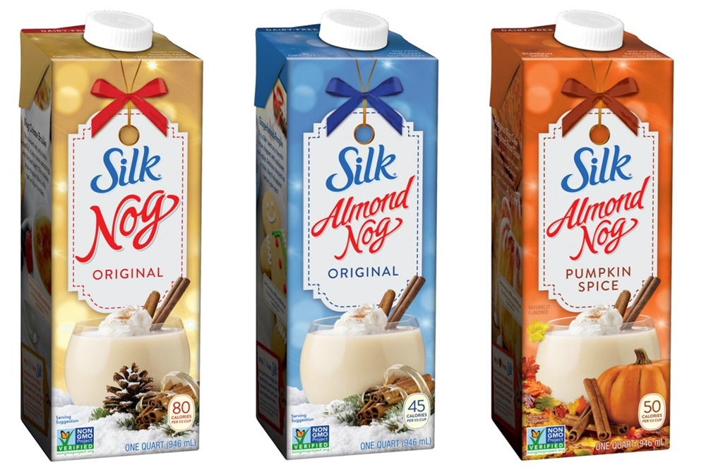 Dairy-Free Holiday Beverages: A Big Round-Up of Vegan Nog, Pumpkin, and Chocolate Mint Drinks (Silk Holiday & Almond Nogs pictured)