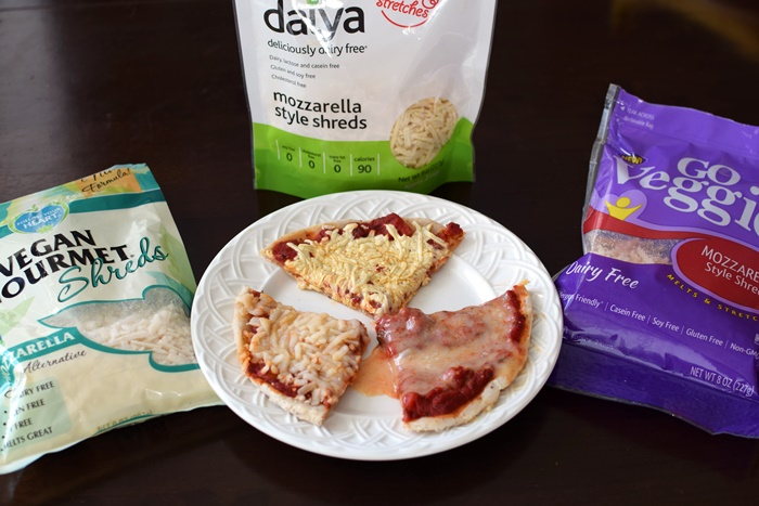 Product Comparison - Dairy-Free Soy-Free Cheese Alternatives for Pizza (Vegan, Allergen-Free Mozzarella from Daiya, Follow Your Heart and Go Veggie)
