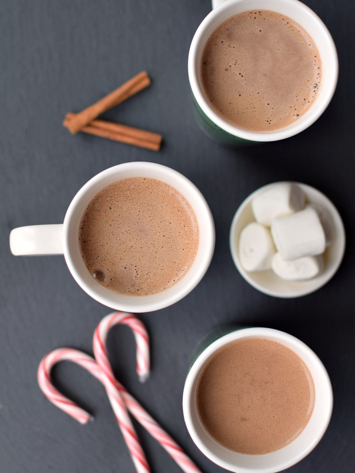 Healthy Hot Chocolate Recipe (Low-sugar, Dairy-free, Gluten-free) with Classic, Peppermint and Mexican Spice Options