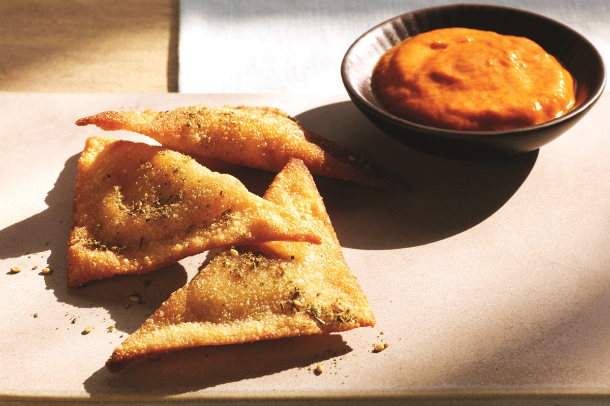 Pan-Fried Hummus Ravioli with Red Pepper Coulis Recipe (dairy-free)