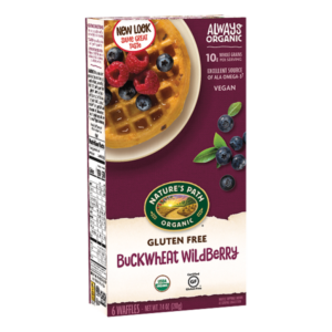 Nature's Path Gluten-Free Waffles Reviews and Info - all dairy-free and vegan. Pictured: Buckwheat Wildberry
